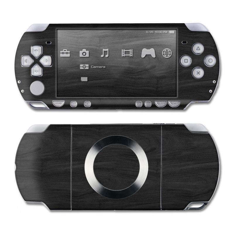 PSP 2nd Gen Slim & Lite Skin design of Black, Brown, Wood, Grey, Flooring, Floor, Laminate flooring, Wood flooring with black colors