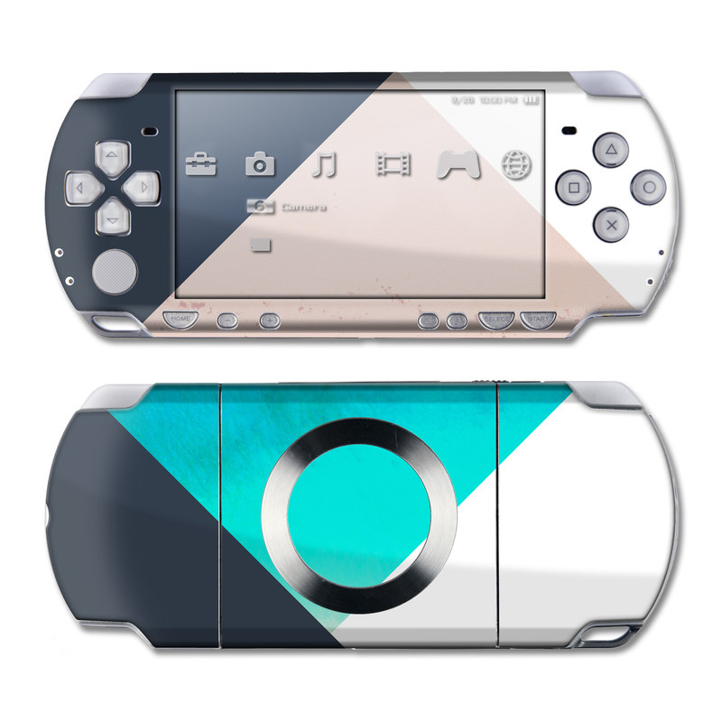 PSP 2nd Gen Slim & Lite Skin design of Blue, Turquoise, Aqua, Line, Triangle, Design, Material property, Graphic design, Pattern, Architecture with black, white, brown, blue colors