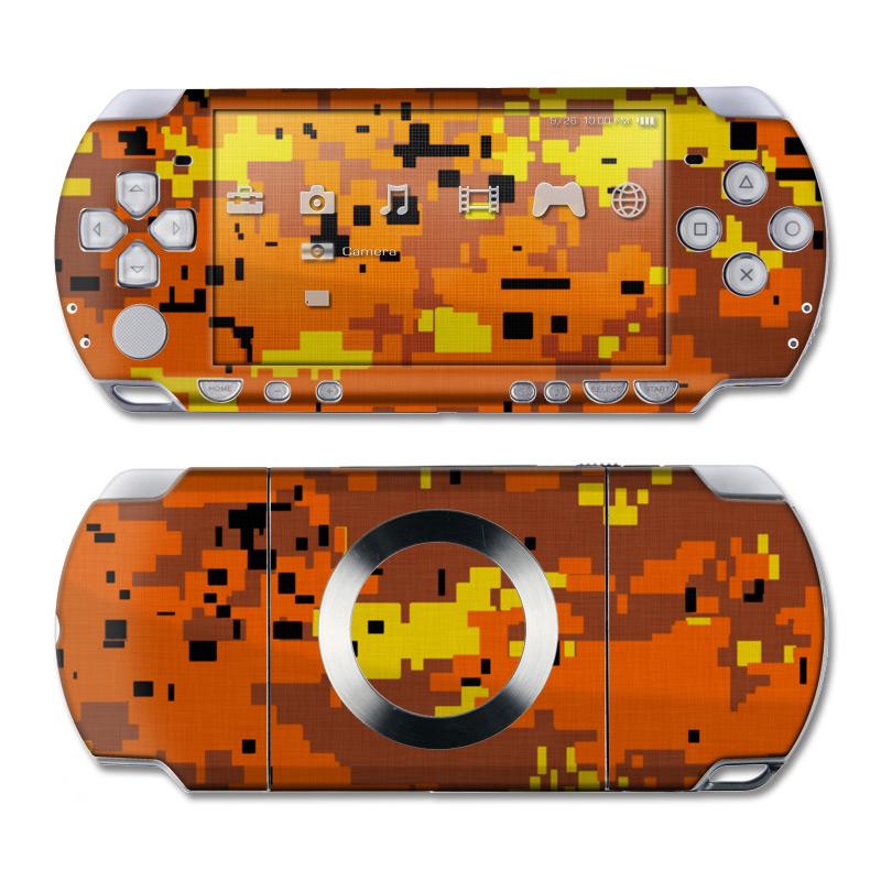 Digital Orange Camo PSP Slim & Lite Skin