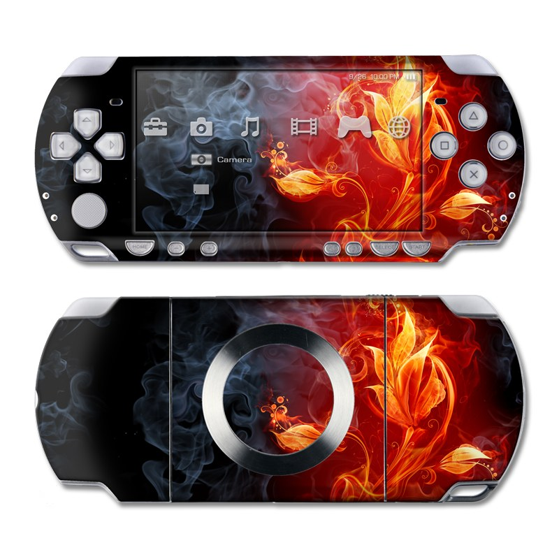 PSP 2nd Gen Slim & Lite Skin design of Flame, Fire, Heat, Red, Orange, Fractal art, Graphic design, Geological phenomenon, Design, Organism with black, red, orange colors