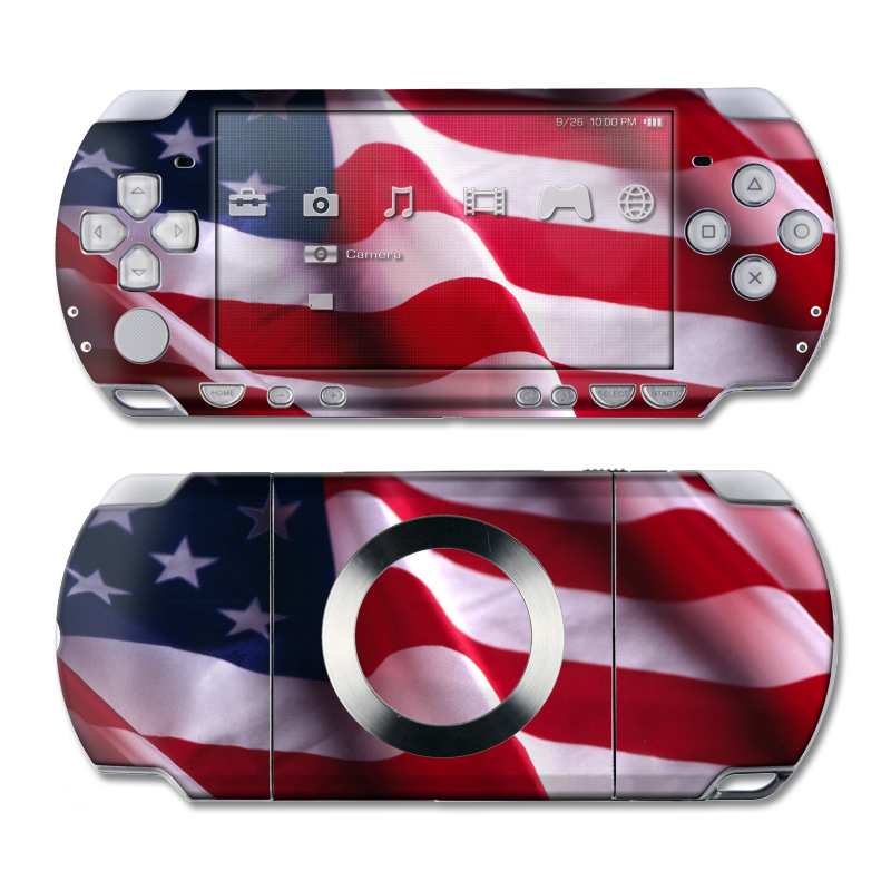 PSP 2nd Gen Slim & Lite Skin design of Flag, Flag of the united states, Flag Day (USA), Veterans day, Memorial day, Holiday, Independence day, Event with red, blue, white colors