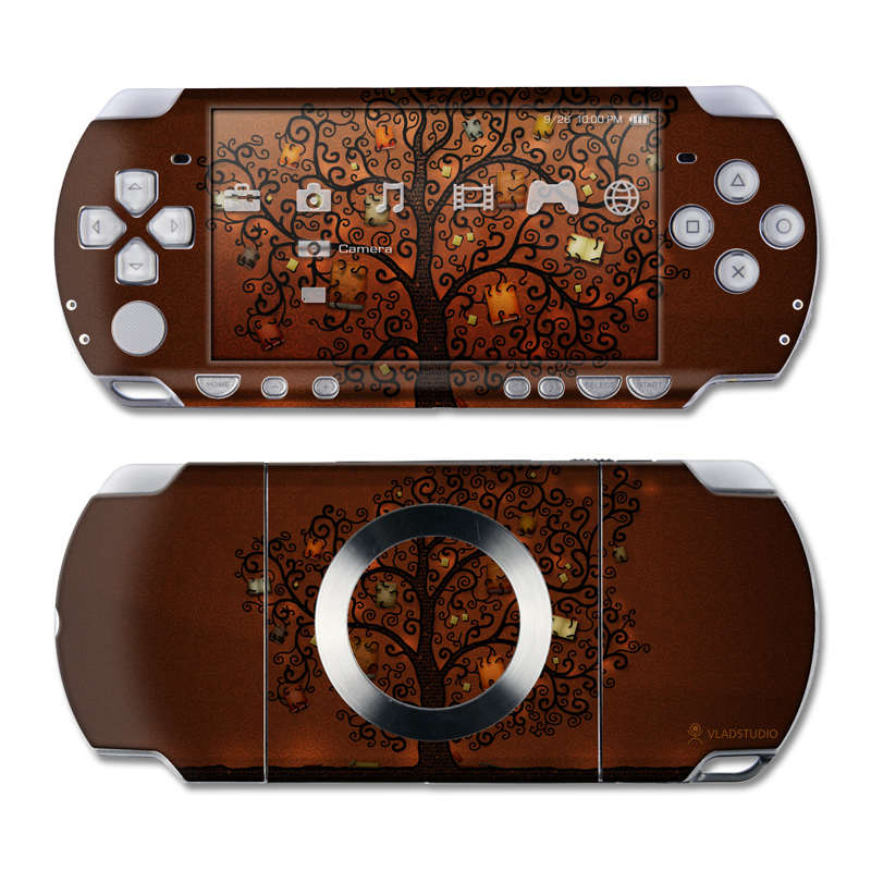 PSP 2nd Gen Slim & Lite Skin design of Tree, Brown, Leaf, Plant, Woody plant, Branch, Visual arts, Font, Pattern, Art with black colors