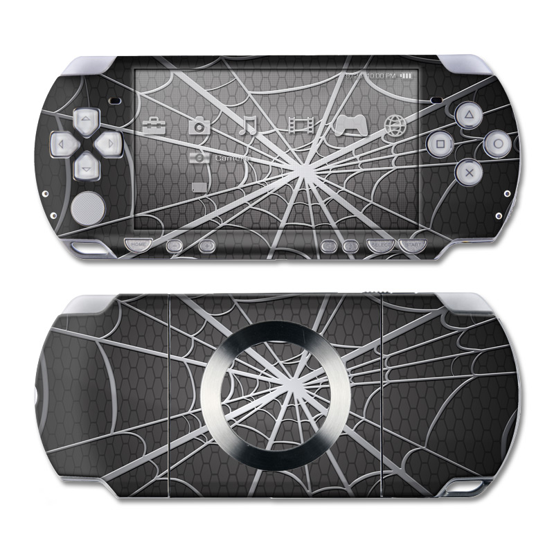 PSP 2nd Gen Slim & Lite Skin design of Black, Pattern, Black-and-white, Monochrome, Line, Spider web, Symmetry, Design, Monochrome photography, Stock photography with black, gray colors