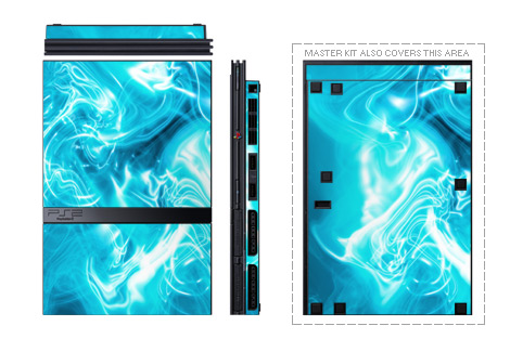 Old PS2 Skin design with blue, black, purple colors