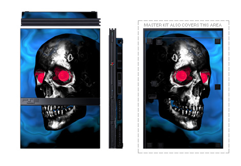 Old PS2 Skin design of Skull, Bone, Darkness, Head, Fiction, Jaw, Photography, Fictional character, Art, Illustration with black, blue, gray, red colors