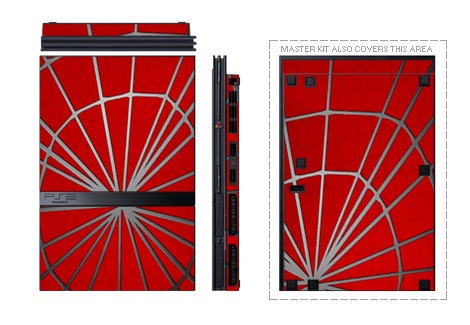 Old PS2 Skin design of Red, Symmetry, Circle, Pattern, Line with red, black, gray colors