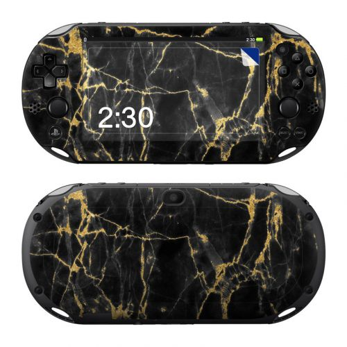 Black Gold Marble PlayStation Vita 2000 Skin