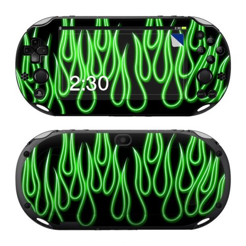 Green Neon Flames PlayStation Vita 2000 Skin