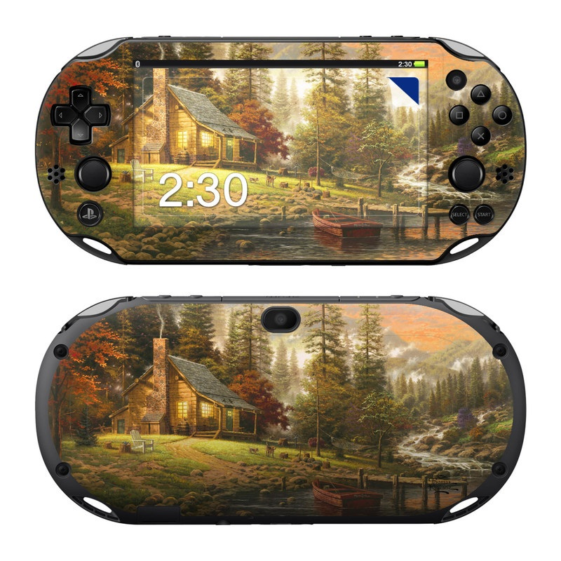 PlayStation Vita 2000 Skin design of Natural landscape, Nature, Painting, Tree, Landscape, Morning, Sky, Biome, Sunlight, Forest with orange, red, green, brown colors