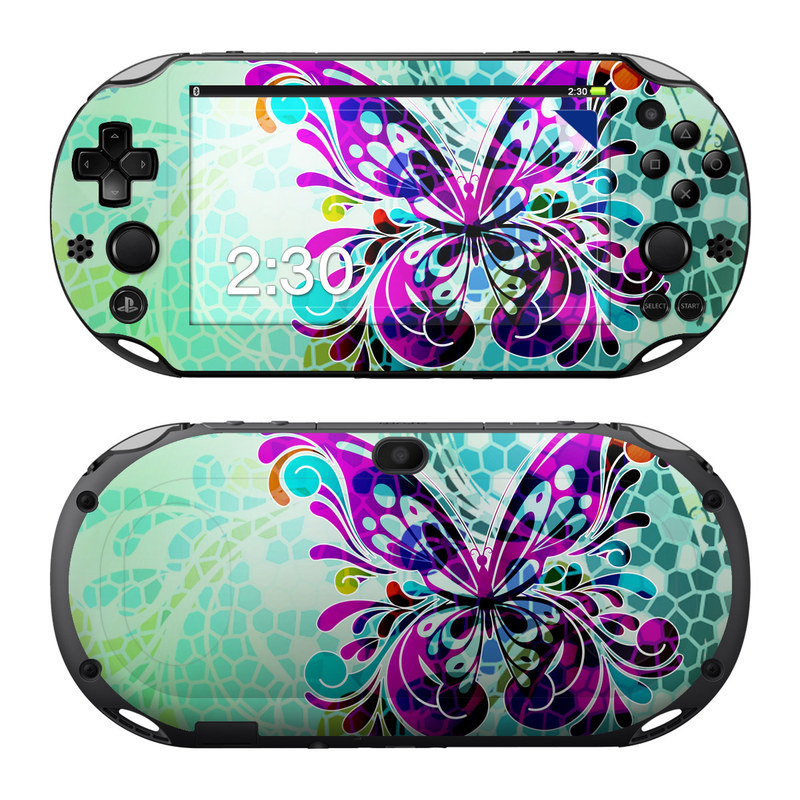 PlayStation Vita 2000 Skin design of Butterfly, Pattern, Insect, Moths and butterflies, Purple, Graphic design, Design, Pollinator, Visual arts, Magenta with blue, green, purple colors