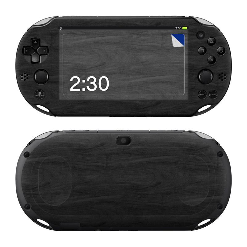 PlayStation Vita 2000 Skin design of Black, Brown, Wood, Grey, Flooring, Floor, Laminate flooring, Wood flooring with black colors