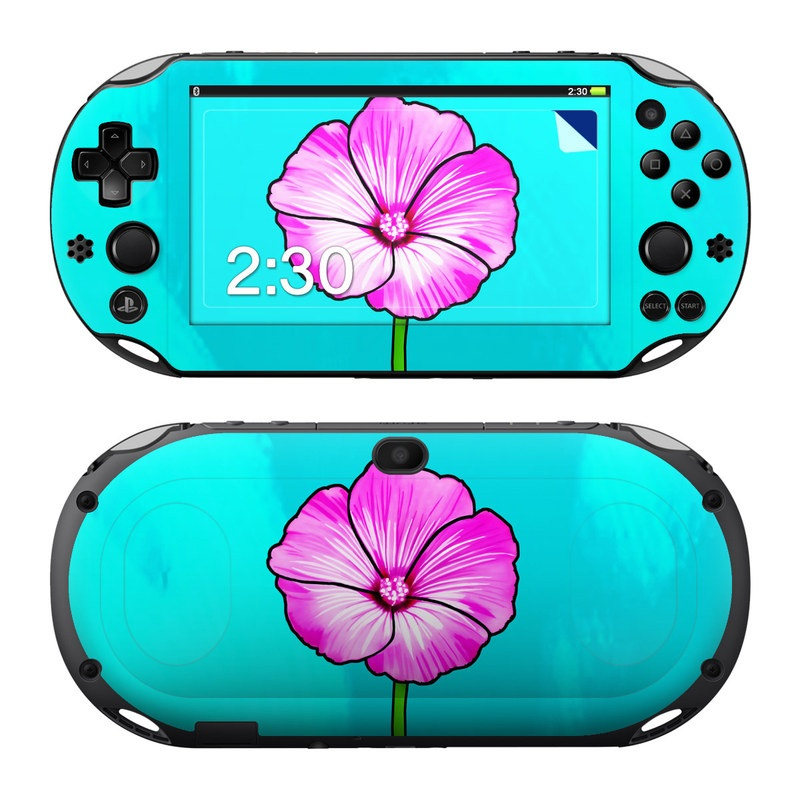 PlayStation Vita 2000 Skin design of Pink, Petal, Flower, Green, Plant, Flowering plant, Botany, Hibiscus, Plant stem, Magenta with blue, pink, green colors