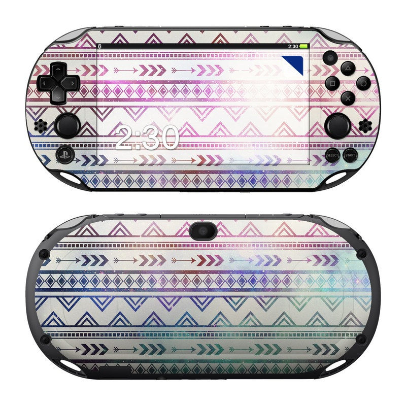 PlayStation Vita 2000 Skin design of Pattern, Line, Teal, Design, Textile with gray, pink, yellow, blue, black, purple colors