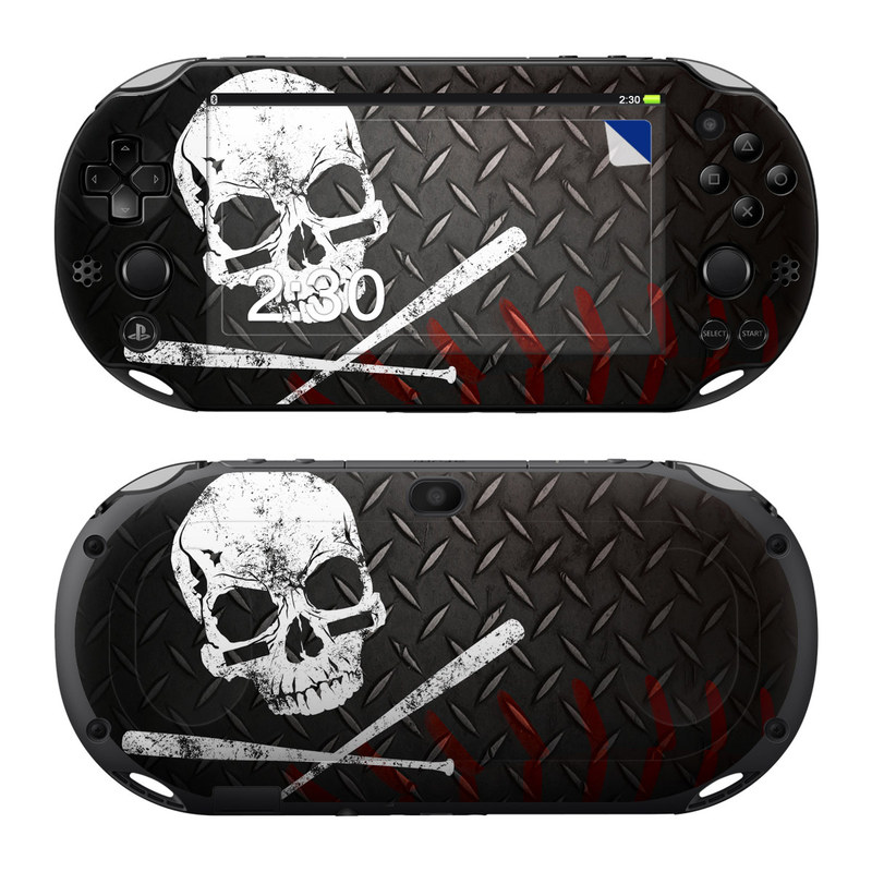 PlayStation Vita 2000 Skin design of Skull, Bone, Illustration, Font, Graphic design, Fictional character, Album cover, Helmet, Graphics, Art with black, gray, white, red colors
