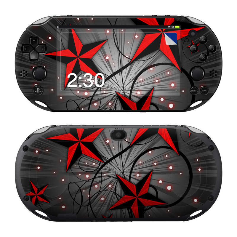 PlayStation Vita 2000 Skin design of Red, Star, Astronomical object, Sky, Pattern, Space, Illustration, Graphic design with black, red, white colors