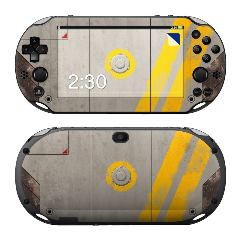 PlayStation Vita 2000 Skin design of Yellow, Wall, Line, Orange, Design, Concrete, Font, Architecture, Parallel, Wood with gray, yellow, red, black colors