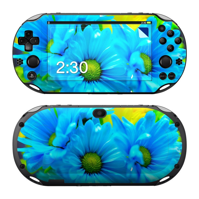 PlayStation Vita 2000 Skin design of Blue, Flower, Petal, Green, Plant, Cobalt blue, Yellow, Flowering plant, Gerbera, Electric blue with blue, black, green colors