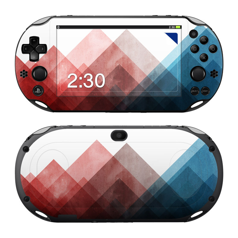 PlayStation Vita 2000 Skin design of Blue, Red, Sky, Pink, Line, Architecture, Font, Graphic design, Colorfulness, Illustration with red, pink, blue colors