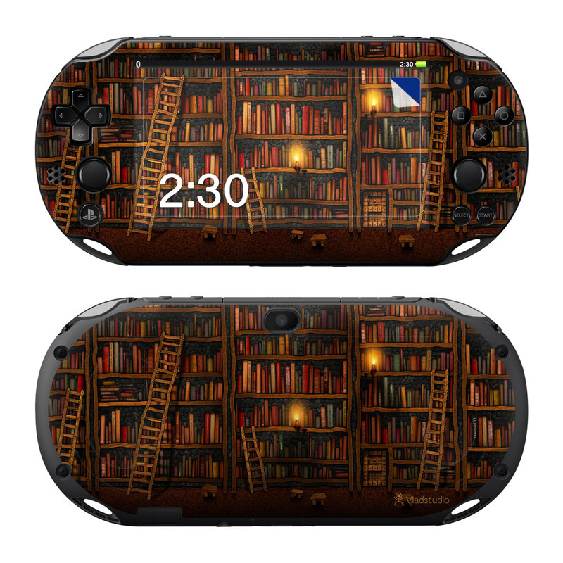 PlayStation Vita 2000 Skin design of Shelving, Library, Bookcase, Shelf, Furniture, Book, Building, Publication, Room, Darkness with black, red colors