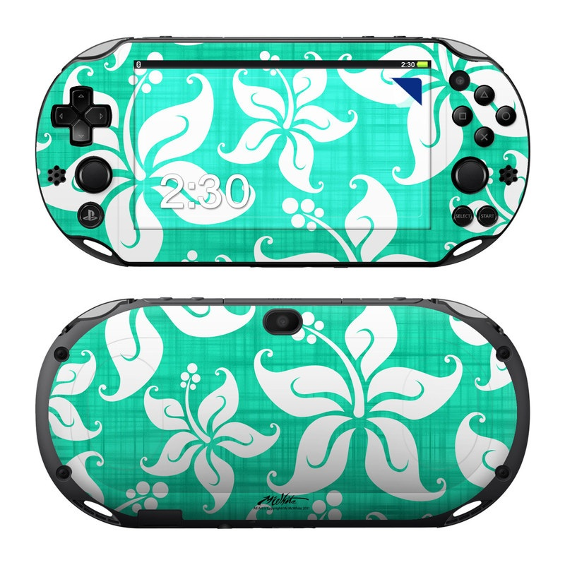 PlayStation Vita 2000 Skin design of Green, Aqua, Pattern, Teal, Turquoise, Wrapping paper, Design, Visual arts, Motif with blue, white, gray, green colors