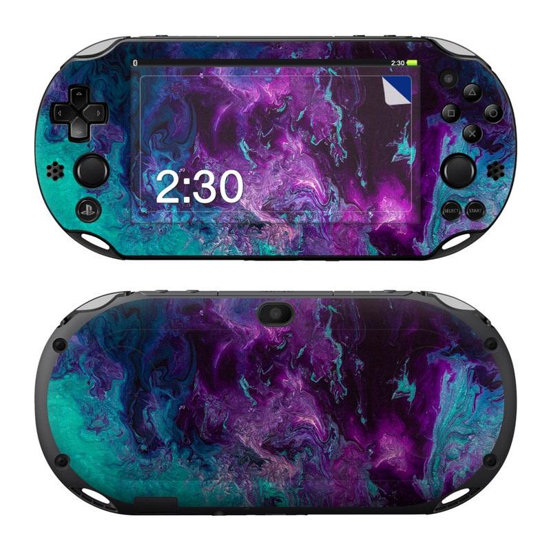 PlayStation Vita 2000 Skin design of Blue, Purple, Violet, Water, Turquoise, Aqua, Pink, Magenta, Teal, Electric blue with blue, purple, black colors