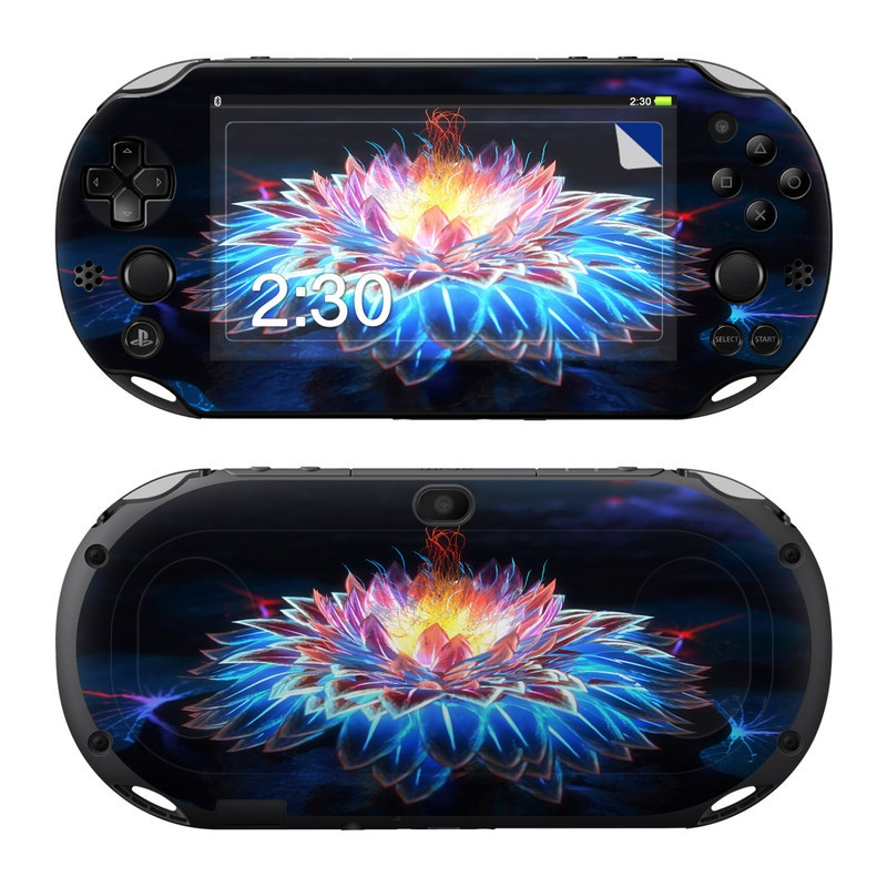 PlayStation Vita 2000 Skin design of Water, Light, Fractal art, Organism, Electric blue, Aquatic plant, Darkness, Plant, Art, Space with black, blue, gray colors