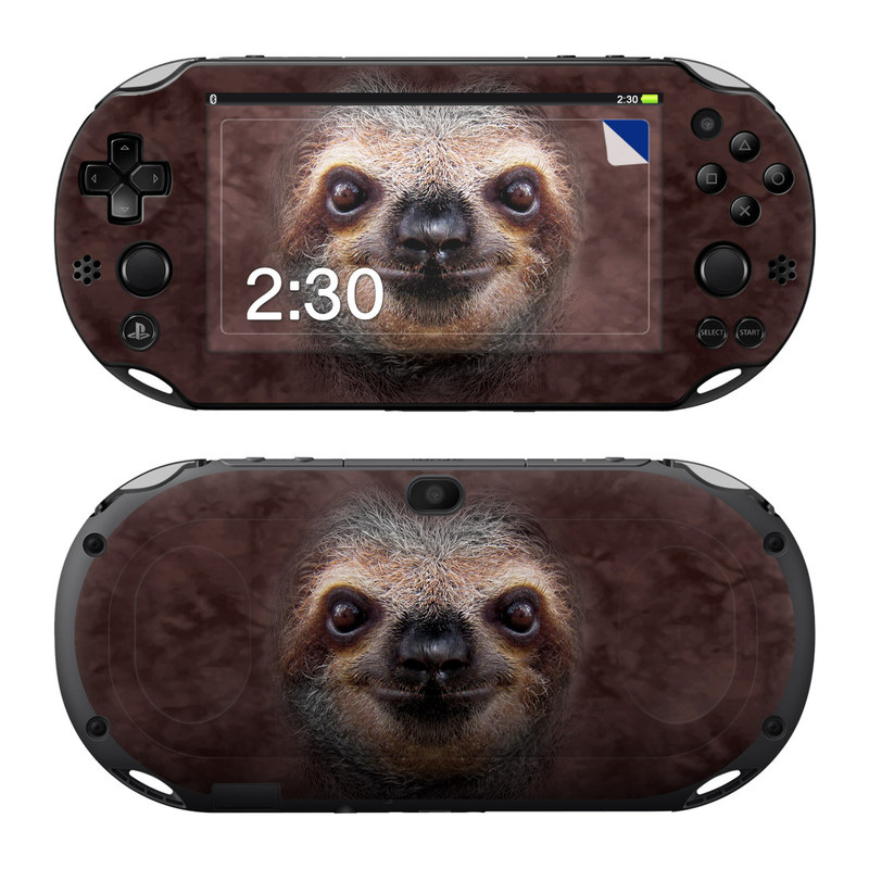 PlayStation Vita 2000 Skin design of Three-toed sloth, Sloth, Snout, Head, Close-up, Nose, Two-toed sloth, Terrestrial animal, Eye, Whiskers with black, gray, red, green colors