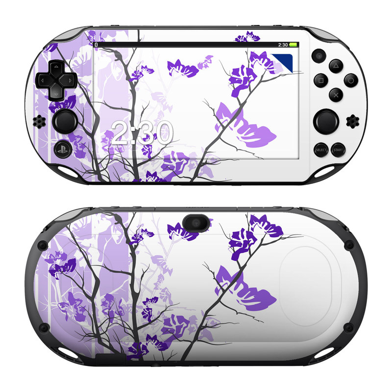 PlayStation Vita 2000 Skin design of Branch, Purple, Violet, Lilac, Lavender, Plant, Twig, Flower, Tree, Wildflower with white, purple, gray, pink, black colors