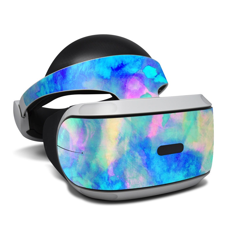 PlayStation VR Skin design of Blue, Turquoise, Aqua, Pattern, Dye, Design, Sky, Electric blue, Art, Watercolor paint with blue, purple colors