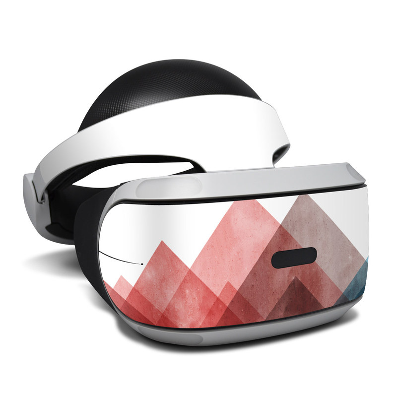 PlayStation VR Skin design of Blue, Red, Sky, Pink, Line, Architecture, Font, Graphic design, Colorfulness, Illustration with red, pink, blue colors
