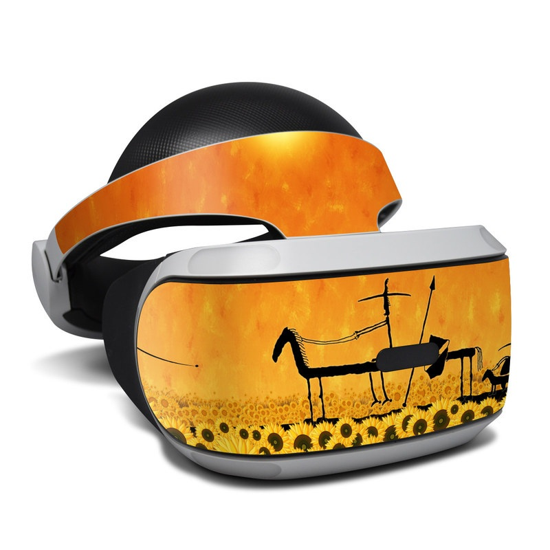 PlayStation VR Skin design of Yellow, Illustration, Vehicle, Plant, Art, Wildlife, Silhouette, Sunrise with yellow, orange, red, black colors