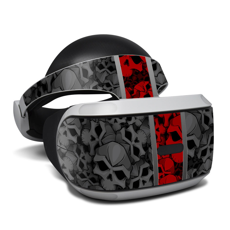 PlayStation VR Skin design of Font, Text, Pattern, Design, Graphic design, Black-and-white, Monochrome, Graphics, Illustration, Art with black, red, gray colors