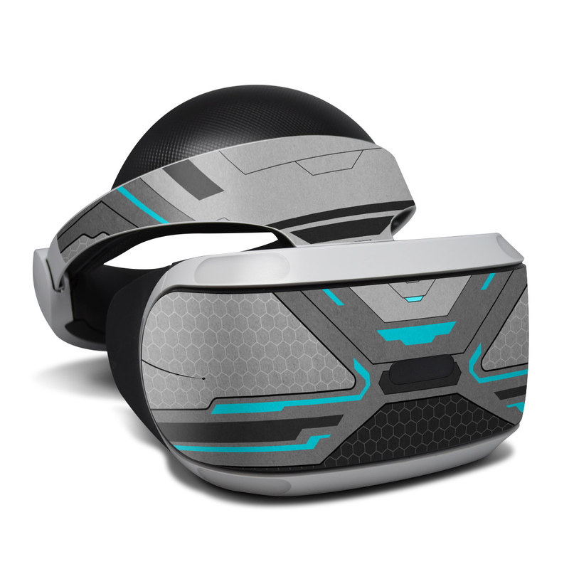 PlayStation VR Skin design of Blue, Turquoise, Pattern, Teal, Symmetry, Design, Line, Automotive design, Font with black, gray, blue colors