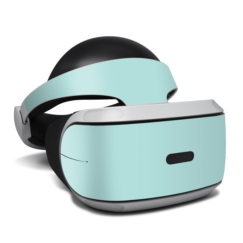 PlayStation VR Skin design of Green, Blue, Aqua, Turquoise, Teal, Azure, Text, Daytime, Yellow, Sky with blue colors
