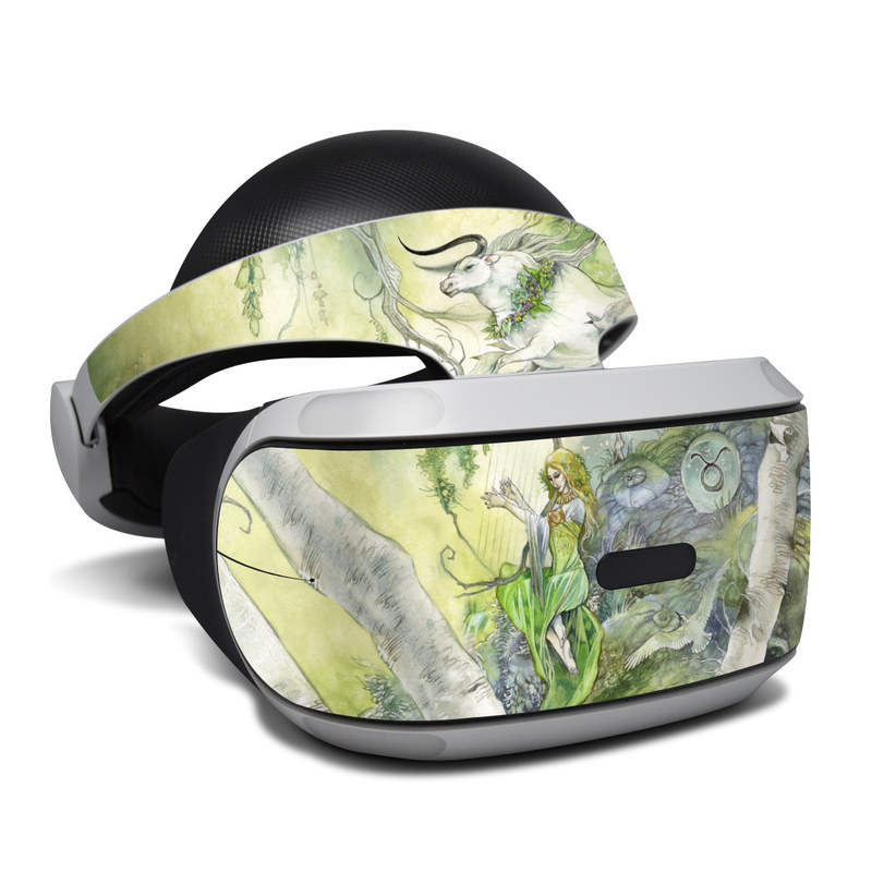 PlayStation VR Skin design of Watercolor paint, Tree, Illustration, Plant, Art, Painting, Paint with gray, green, black, yellow colors