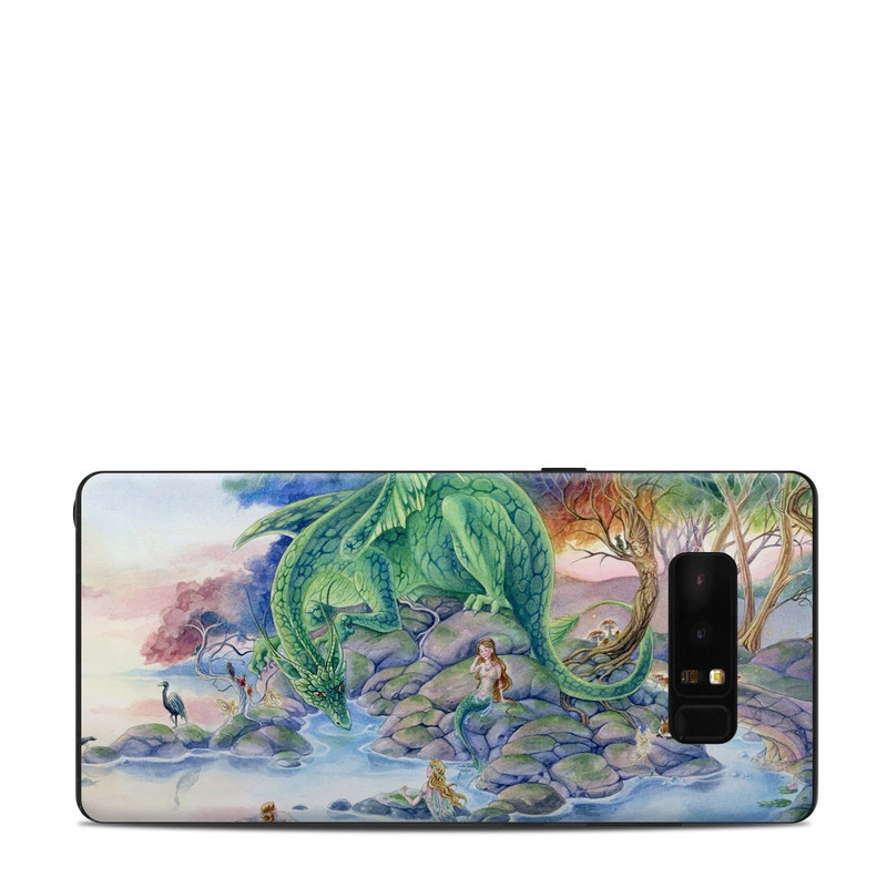Samsung Galaxy Note 8 Skin design of Watercolor paint, Painting, Illustration, Tree, Fictional character, Mythology, Art, Plant, Cg artwork, Mythical creature with green, yellow, blue colors