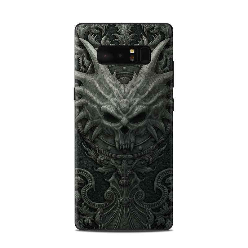 Samsung Galaxy Note 8 Skin design of Demon, Dragon, Fictional character, Illustration, Supernatural creature, Drawing, Symmetry, Art, Mythology, Mythical creature with black, gray colors