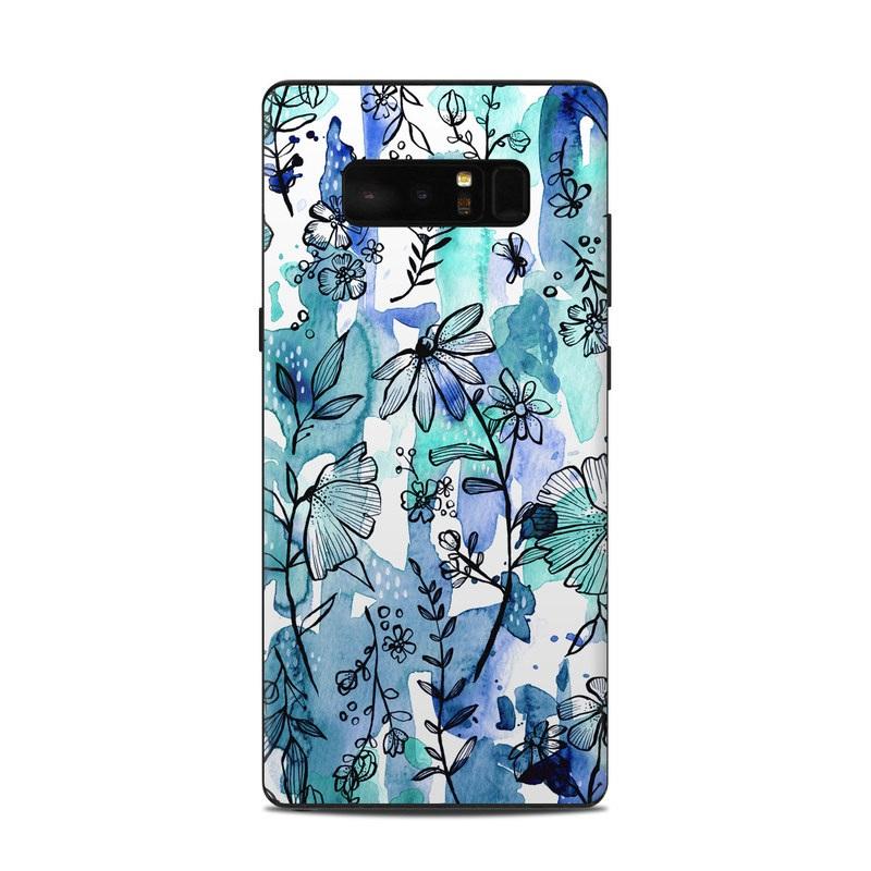 Blue Ink Floral Samsung Galaxy Note 8 Skin