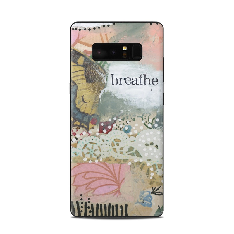 Samsung Galaxy Note 8 Skin design of Butterfly, Moths and butterflies, Insect, Pollinator, Organism, Illustration, Brush-footed butterfly, Art, Fictional character, Wildflower with pink, brown, white, black, red, blue, green colors