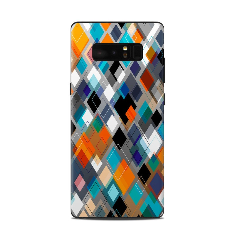 Samsung Galaxy Note 8 Skin design of Pattern, Line, Design, Colorfulness, Plaid, Tints and shades, Textile, Symmetry, Square with black, blue, red, orange, white colors