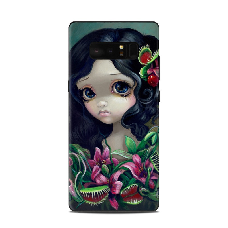 Samsung Galaxy Note 8 Skin design of Illustration, Plant, Fictional character, Doll, Art, Flower with black, yellow, green, red, pink colors