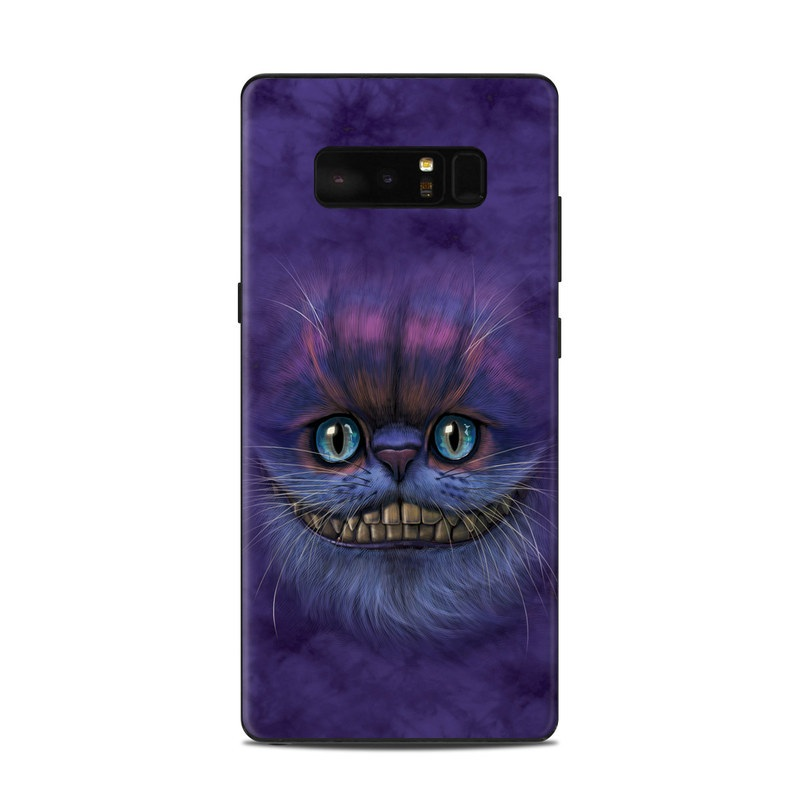 Samsung Galaxy Note 8 Skin design of Cat, Whiskers, Felidae, Small to medium-sized cats, Snout, Eye, Illustration, Ojos azules, Black cat, Carnivore with purple, blue colors