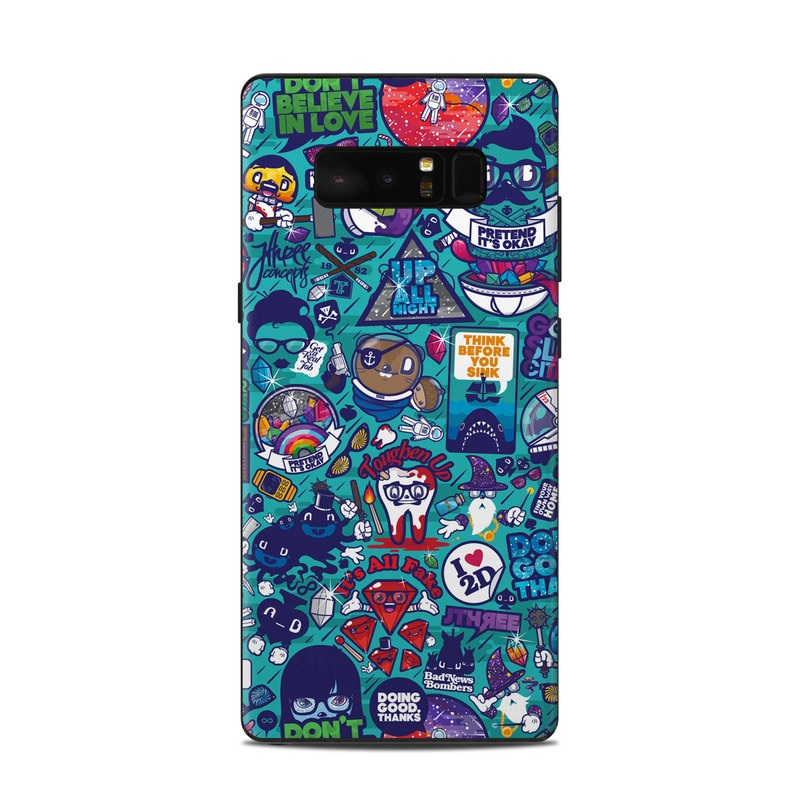 Samsung Galaxy Note 8 Skin design of Art, Visual arts, Illustration, Graphic design, Psychedelic art with blue, black, gray, red, green colors