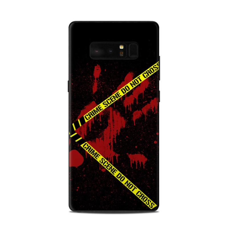 Samsung Galaxy Note 8 Skin design of Red, Black, Font, Text, Logo, Graphics, Graphic design, Room, Carmine, Fictional character with black, red, green colors