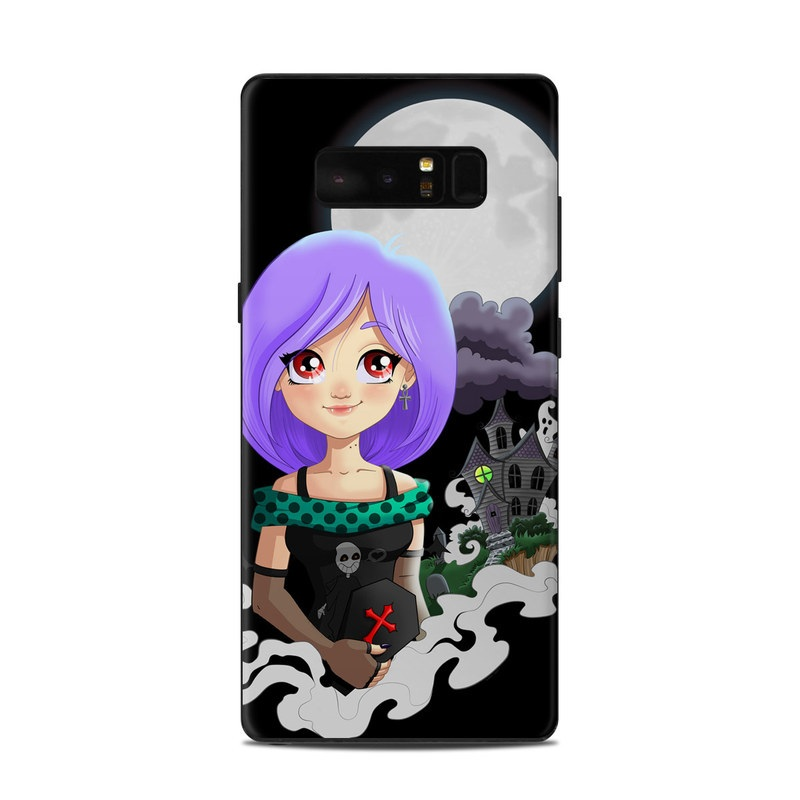 Samsung Galaxy Note 8 Skin design of Cartoon, Illustration, Purple, Violet, Fictional character, Animation, Graphic design, Plant, Art, Style with black, white, purple, gray, green colors