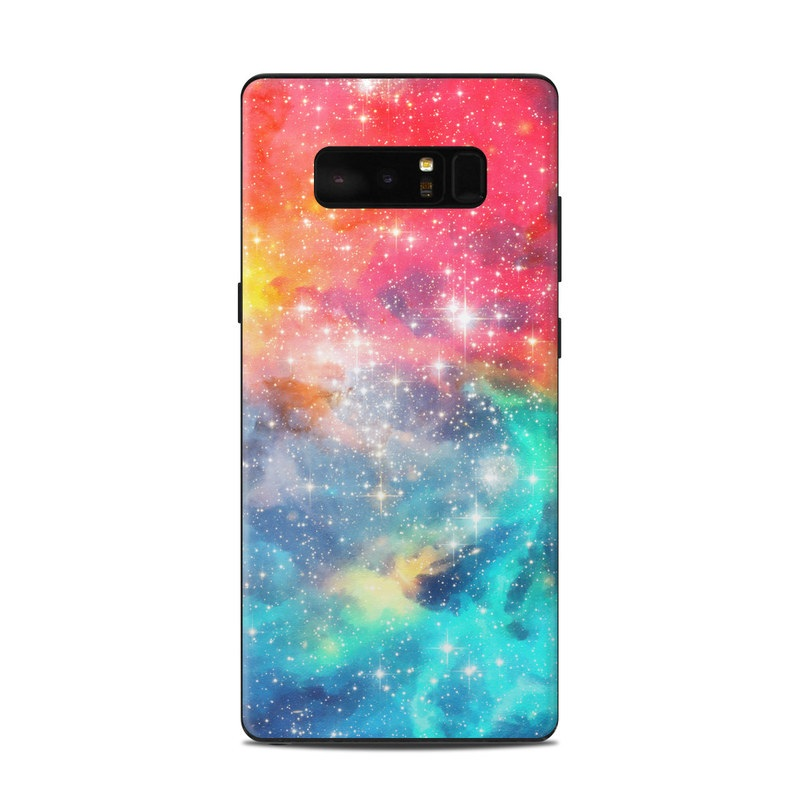 Samsung Galaxy Note 8 Skin design of Nebula, Sky, Astronomical object, Outer space, Atmosphere, Universe, Space, Galaxy, Celestial event, Star with white, black, red, orange, yellow, blue colors