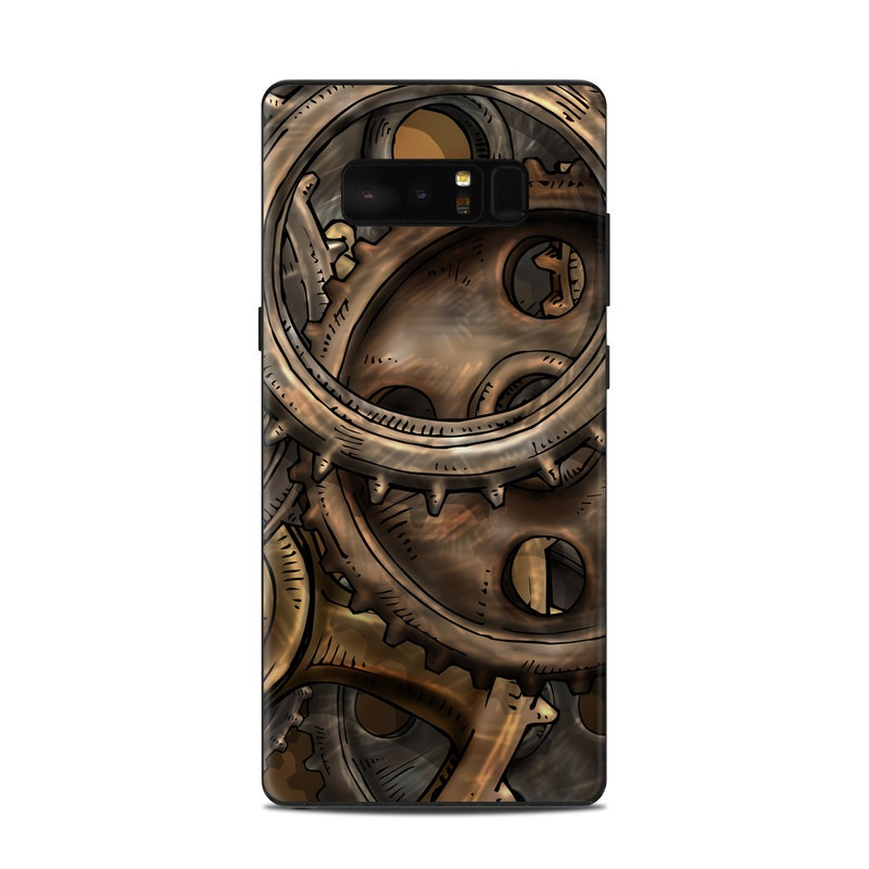 Samsung Galaxy Note 8 Skin design of Metal, Auto part, Bronze, Brass, Copper with black, red, green, gray colors