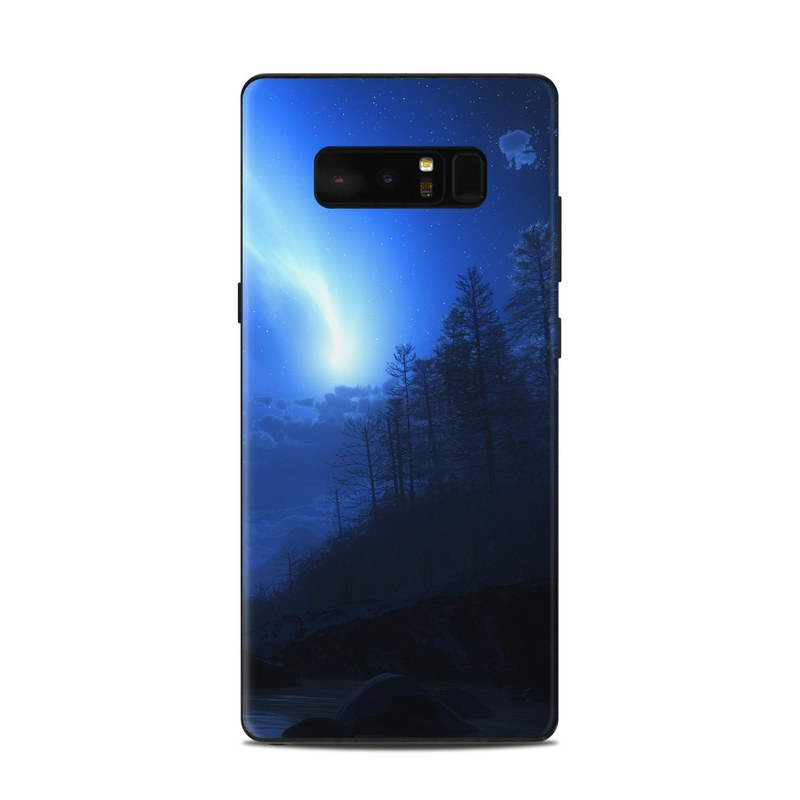 Samsung Galaxy Note 8 Skin design of Sky, Nature, Blue, Light, Moonlight, Atmosphere, Atmospheric phenomenon, Night, Astronomical object, Celestial event with black, blue, purple colors