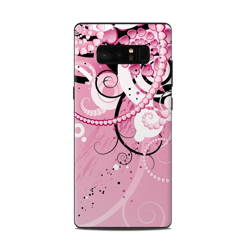 Samsung Galaxy Note 8 Skin design of Pink, Floral design, Graphic design, Text, Design, Flower Arranging, Pattern, Illustration, Flower, Floristry with pink, gray, black, white, purple, red colors