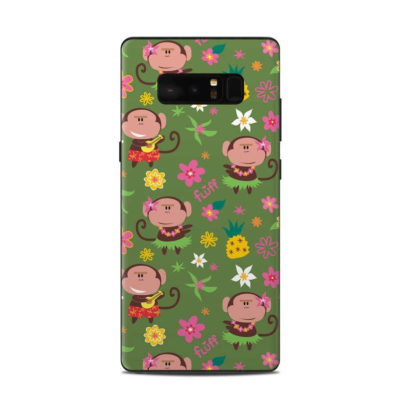 Samsung Galaxy Note 8 Skin design of Cartoon, Pattern, Wrapping paper, Pink, Illustration, Design, Textile, Smile, Art with green, gray, purple, black, red colors